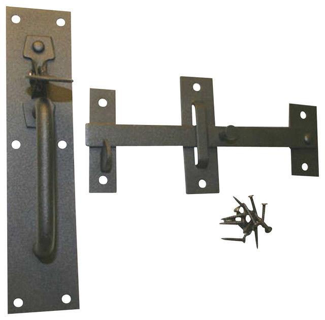 Komplett Set Garagentorbeschlag ;Riegel ;Schrauben ;Falle ;schwarz Einbrennlack